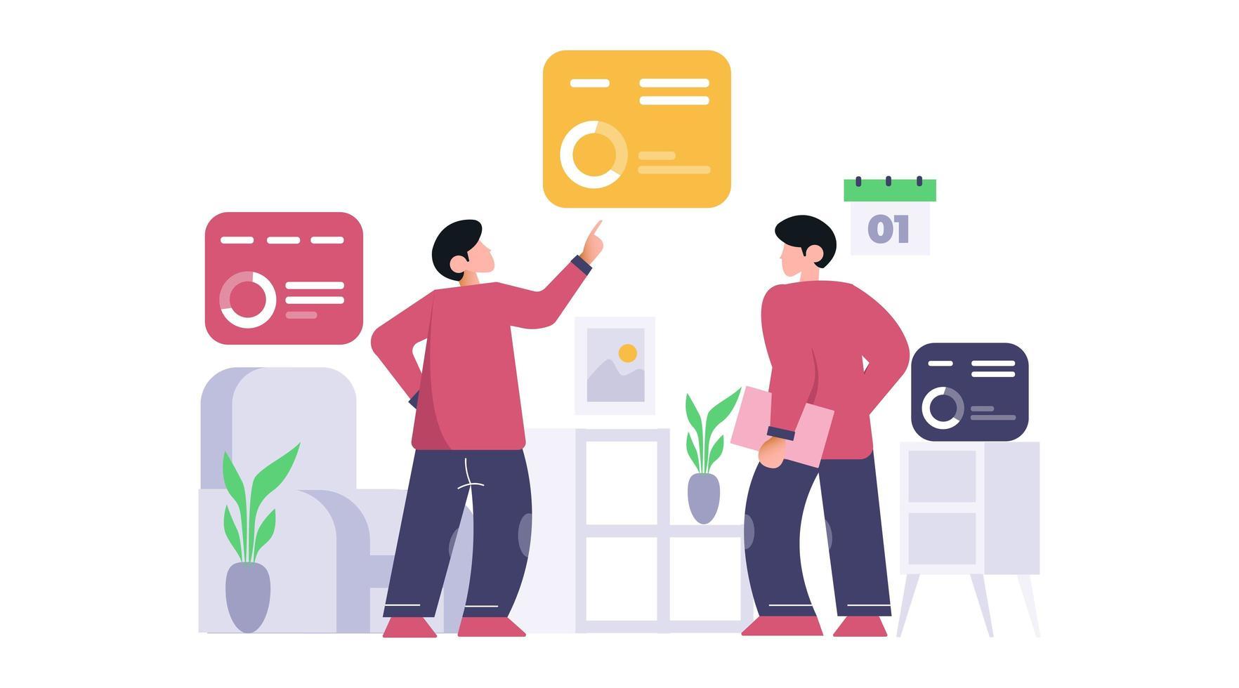 Zwei Geschäftsleute analysieren und erforschen das Geschäftsdatenkonzept. vektor