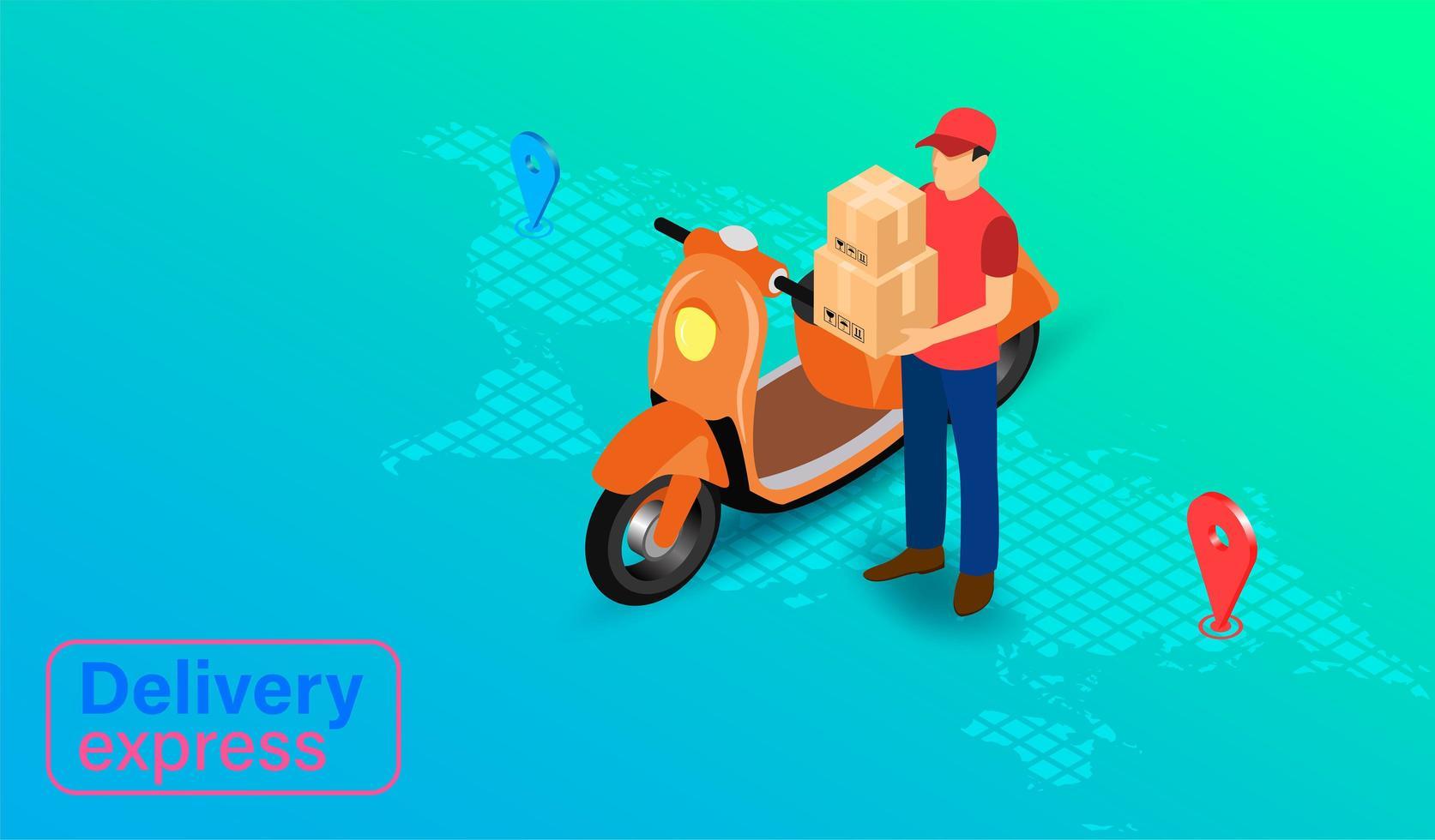 Zustellung Express per Paketzusteller mit Roller vektor