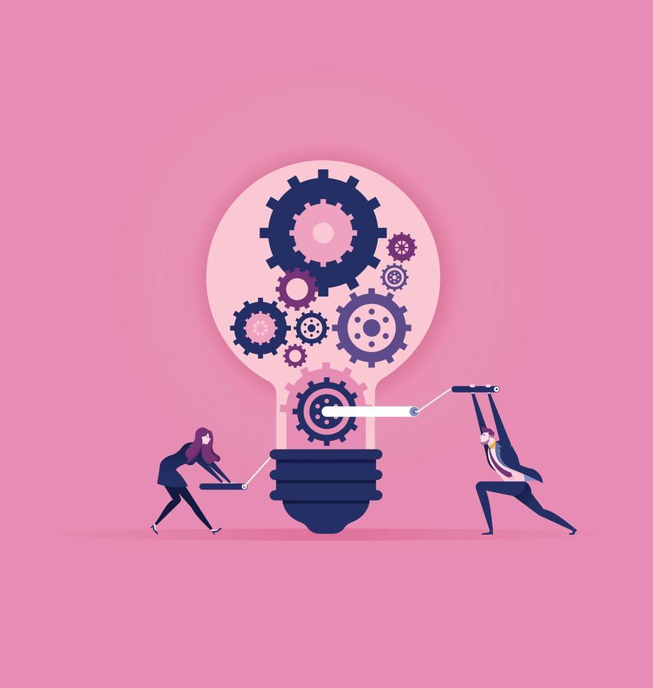Ideen schaffen und Teamwork-Konzept entwerfen vektor