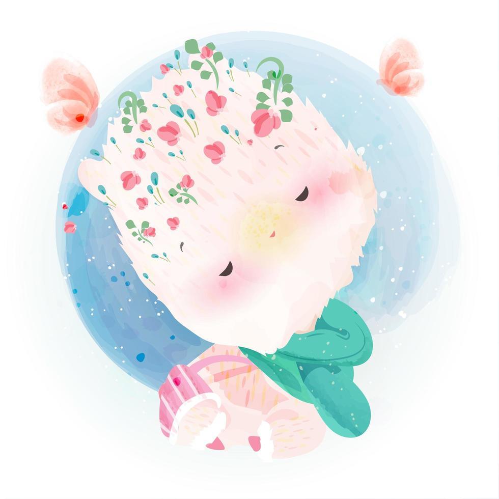 alpakka dekorerad med blommakronor. vektor