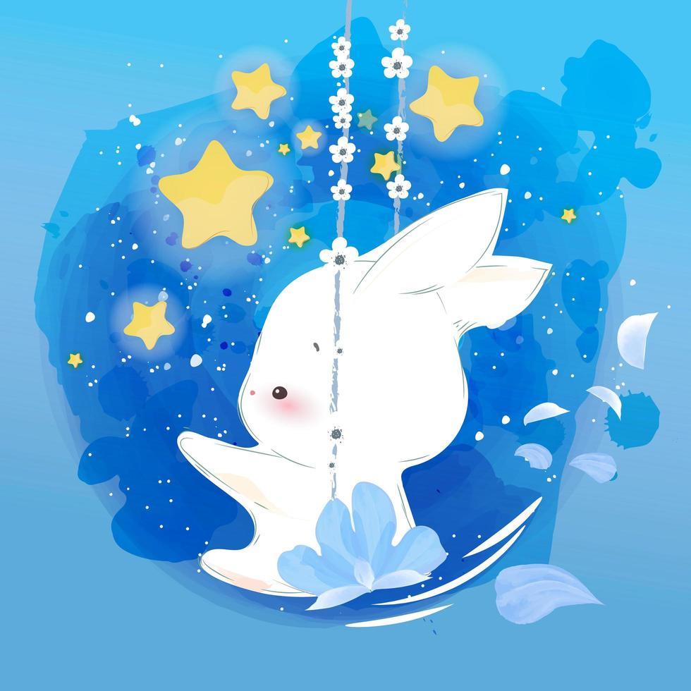 djur kanin och blomma swing vektor