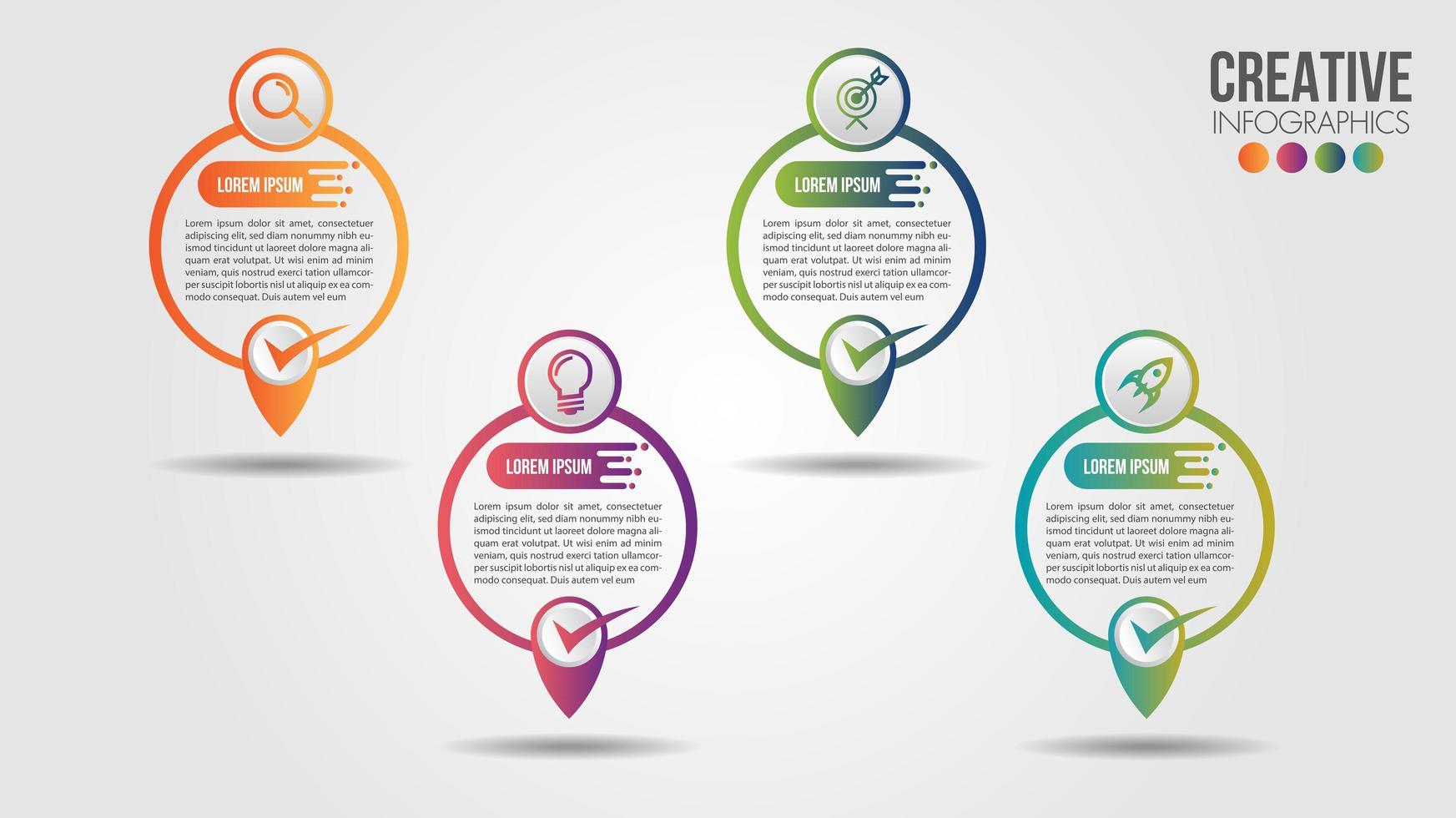 Business Infografik Karte punktgenau Zeitachse Design vektor
