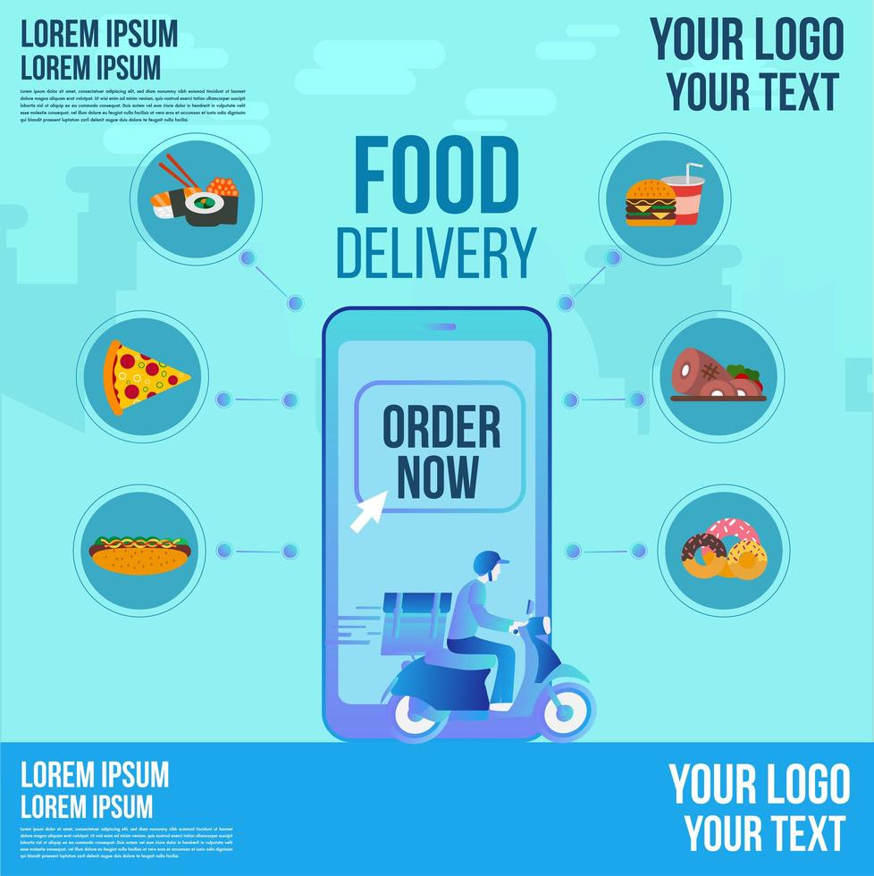 Food Delivery Design per Roller auf einer Smartphone-App bestellen jetzt verfolgen vektor