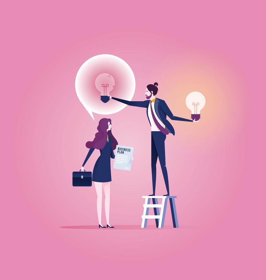 erfolgreicher Geschäftsmann geben einer anderen Geschäftsfrau neue Idee Glühbirne vektor