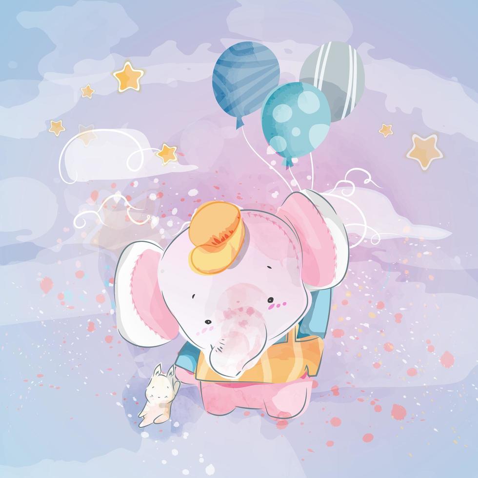 Elefanten am Himmel mit Luftballons vektor