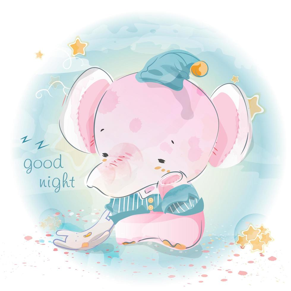 god natt elefant vektor