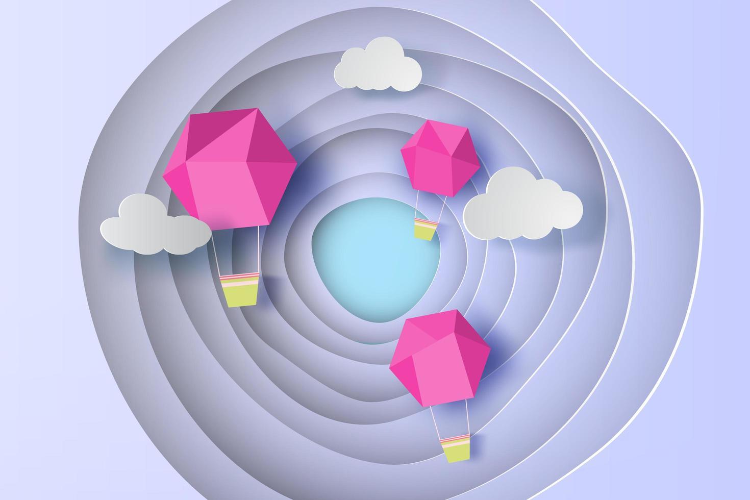 rosa Ballon fliegen Luft auf Kurve Form blauen Himmel Hintergrund vektor