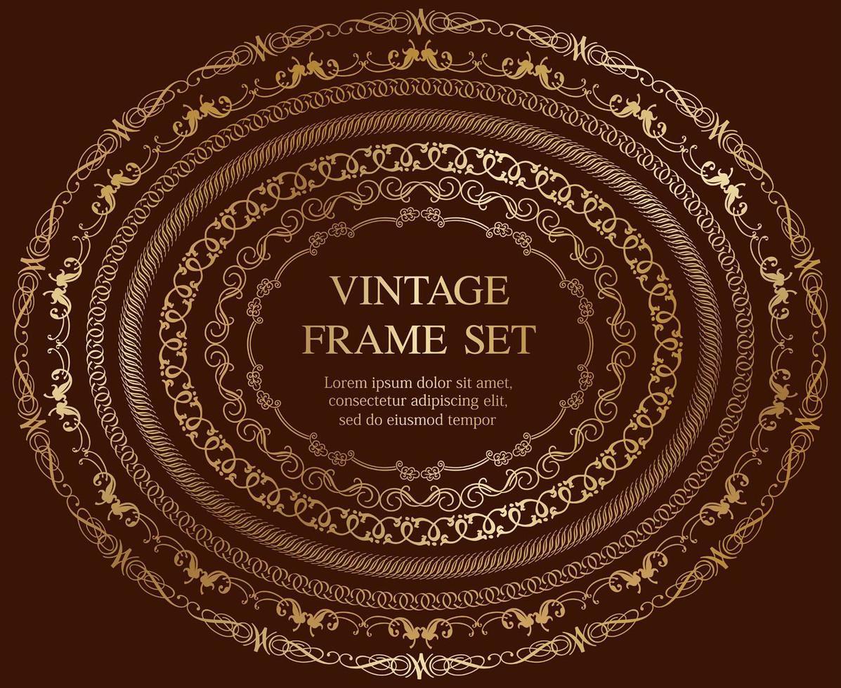 Satz von sieben ovalen Vintage-Rahmen des Goldes lokalisiert auf einem dunklen Hintergrund. vektor
