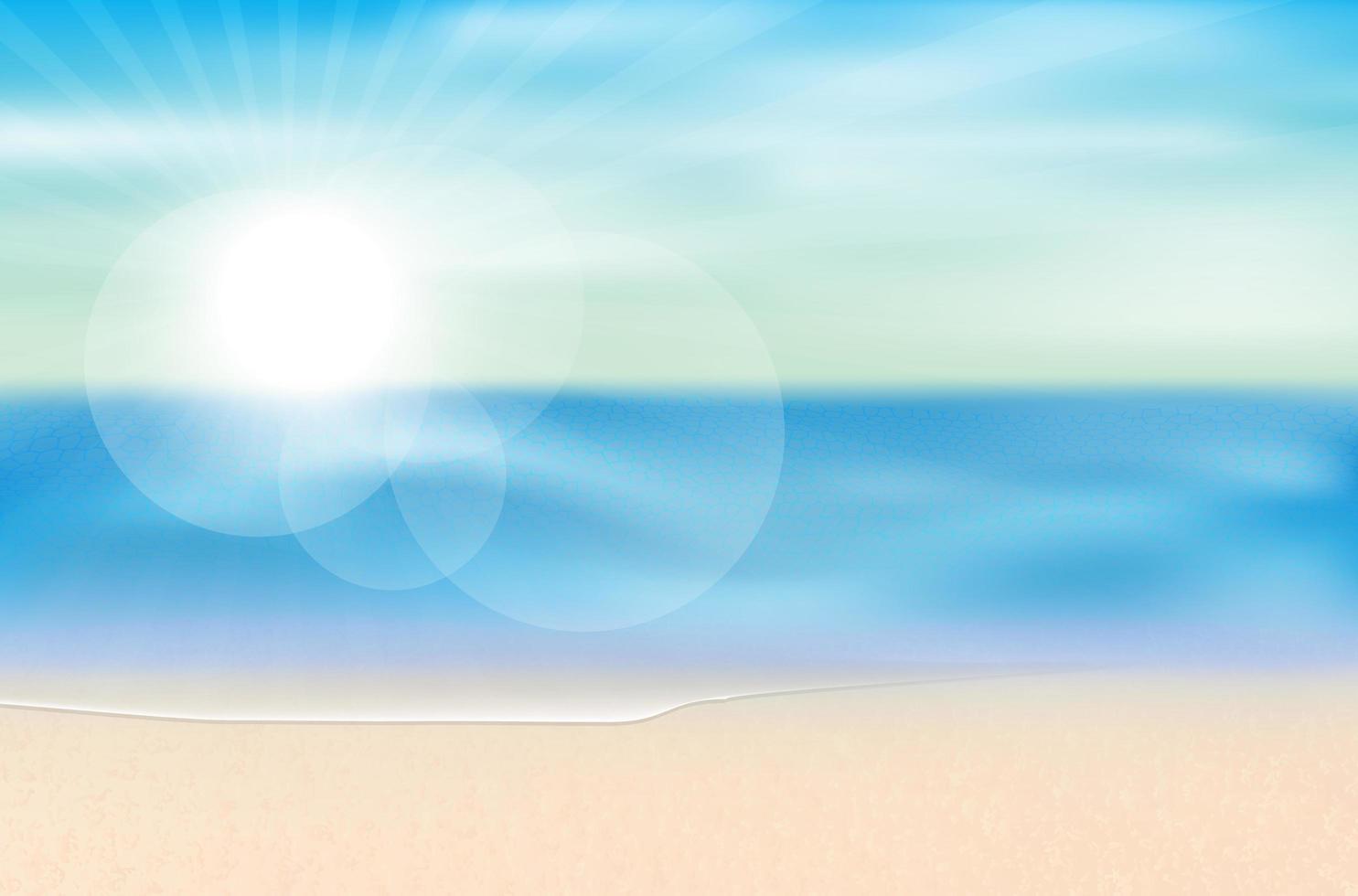 Meerblick Sommerstrand Sonne Hintergrund vektor
