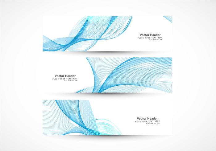 Set av banderoller med blå våg vektor