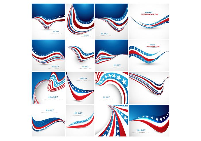 Verschiedene Banner der amerikanischen Flagge vektor