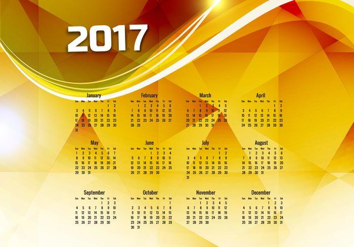 Kalender för år 2017 vektor