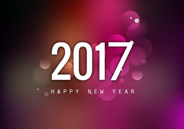 Gott nytt år 2017 med färgstark bakgrund vektor