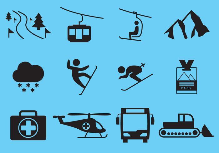 Winter Ski Urlaub Icon Vektoren