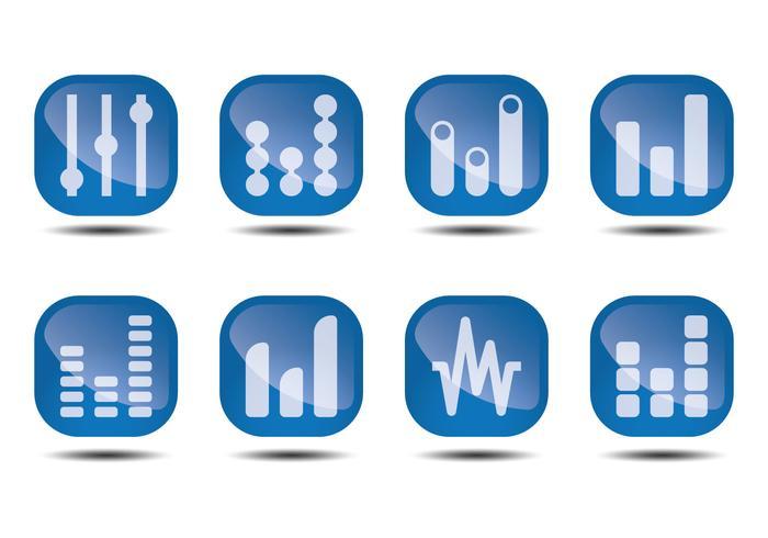 Sound Bars Glossy Icon Vektoren