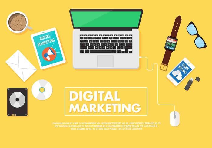 Vektor-Digital-Marketing-Mockup vektor