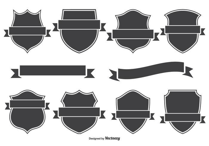 Wappenabzeichen und Bannerset vektor