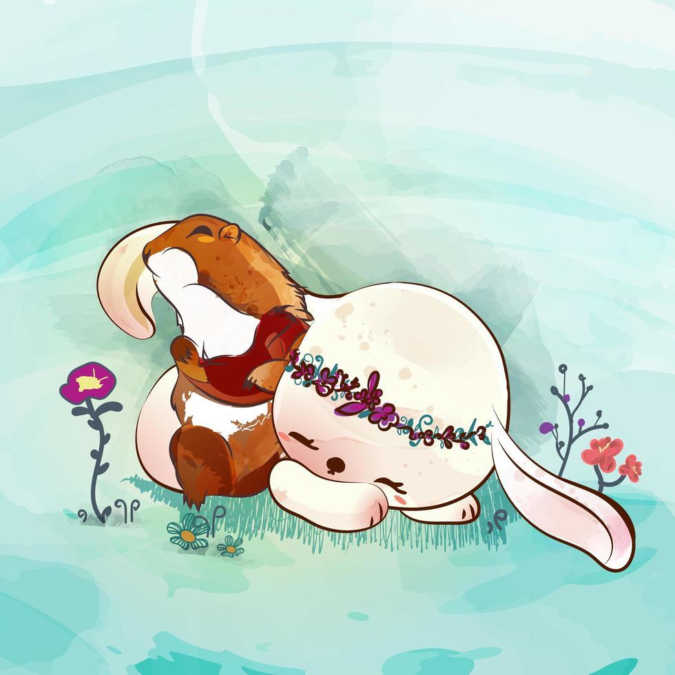kanin och liten ekorre vektor