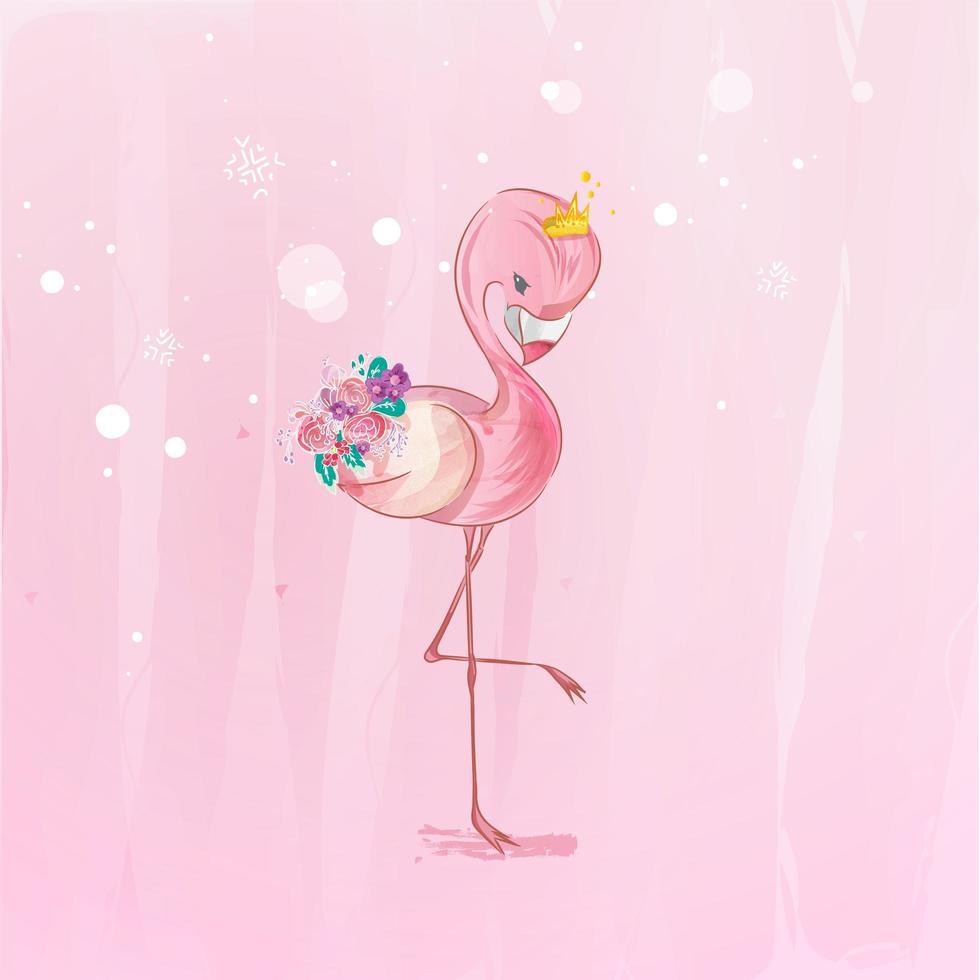rosa flamingo med blommor vektor
