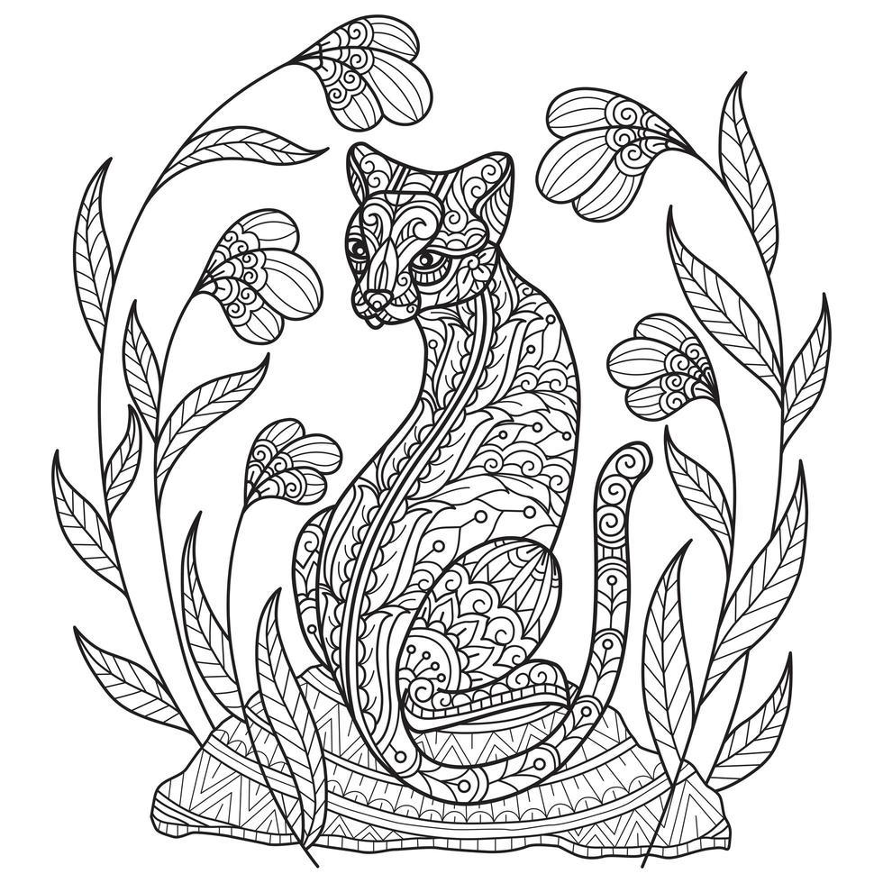 Katze und Blume Malvorlagen vektor