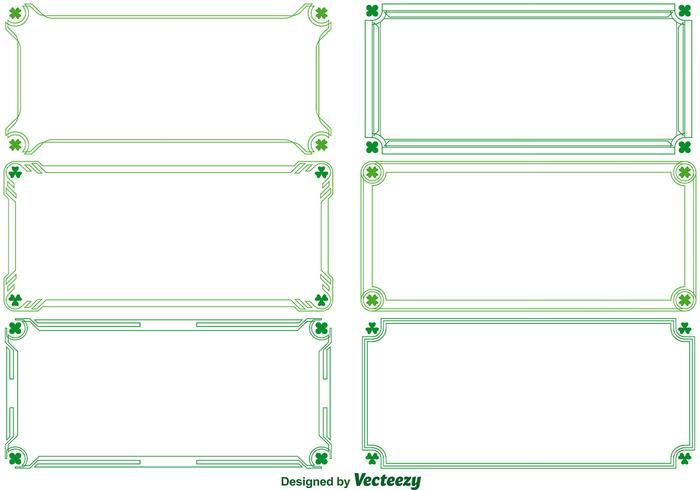 Gröna vektor dekorativa gränser med klöver
