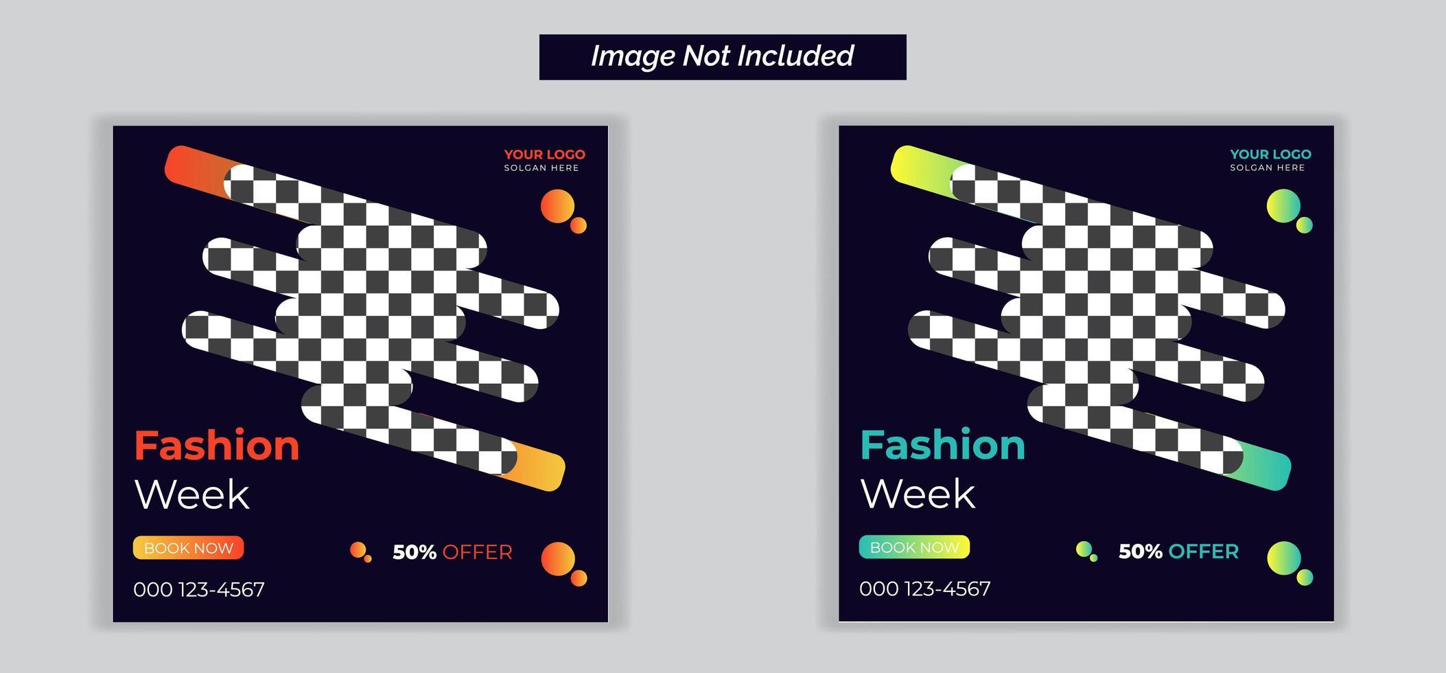 redigerbara modepost-mallar för sociala medier för vektor