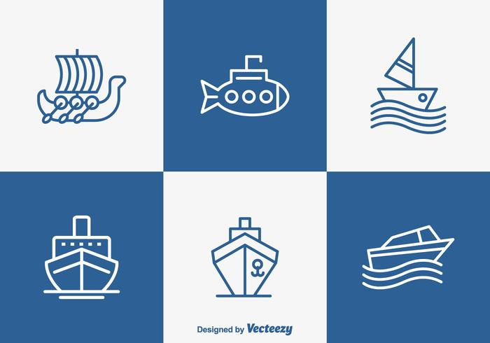 Free Outlined Boot und Schiff Vector Icons