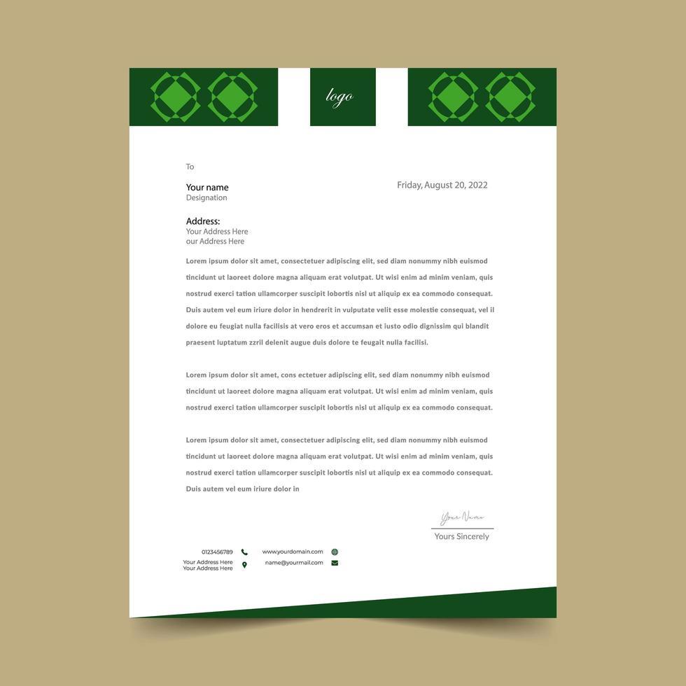 Briefkopfschablonenentwurf der grünen Diamantform vektor