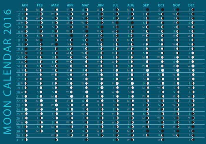 Dunkler Mond Kalender 2016 Vektor