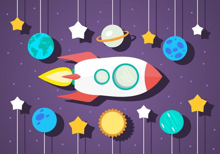 Freie flache Raum Vektor-Illustration mit Raumschiff vektor