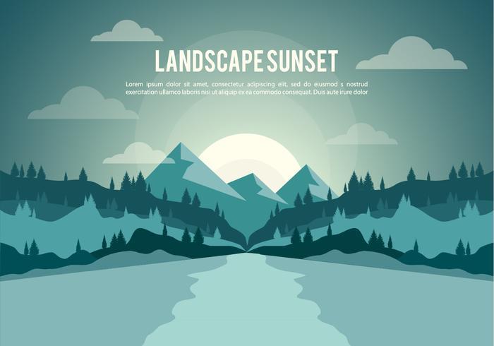 Freie Landschaft Sonnenuntergang Illustration Vektor Hintergrund