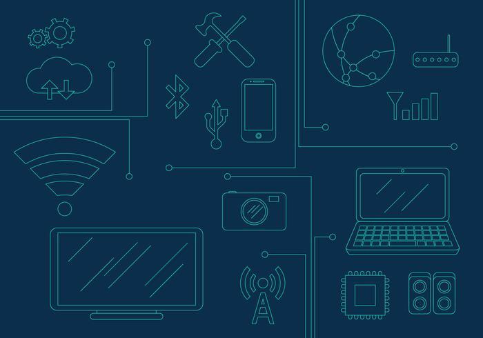 Vektor Teknologiska Elements Illustrationer