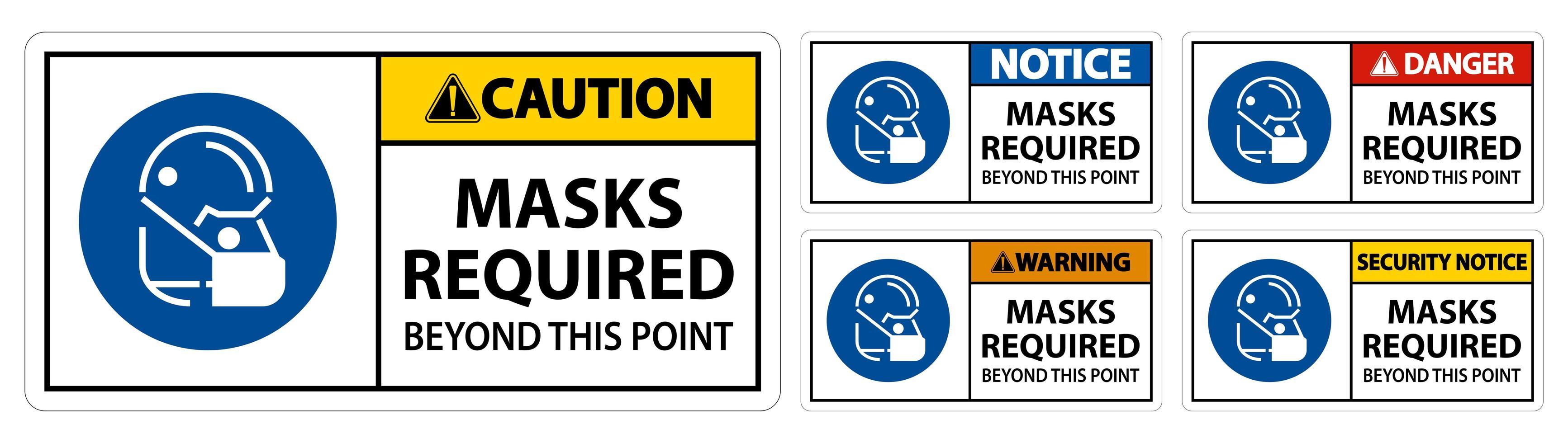 """Schilder mit der Aufschrift """"Masken über diesen Punkt hinaus erforderlich"""" vektor"""