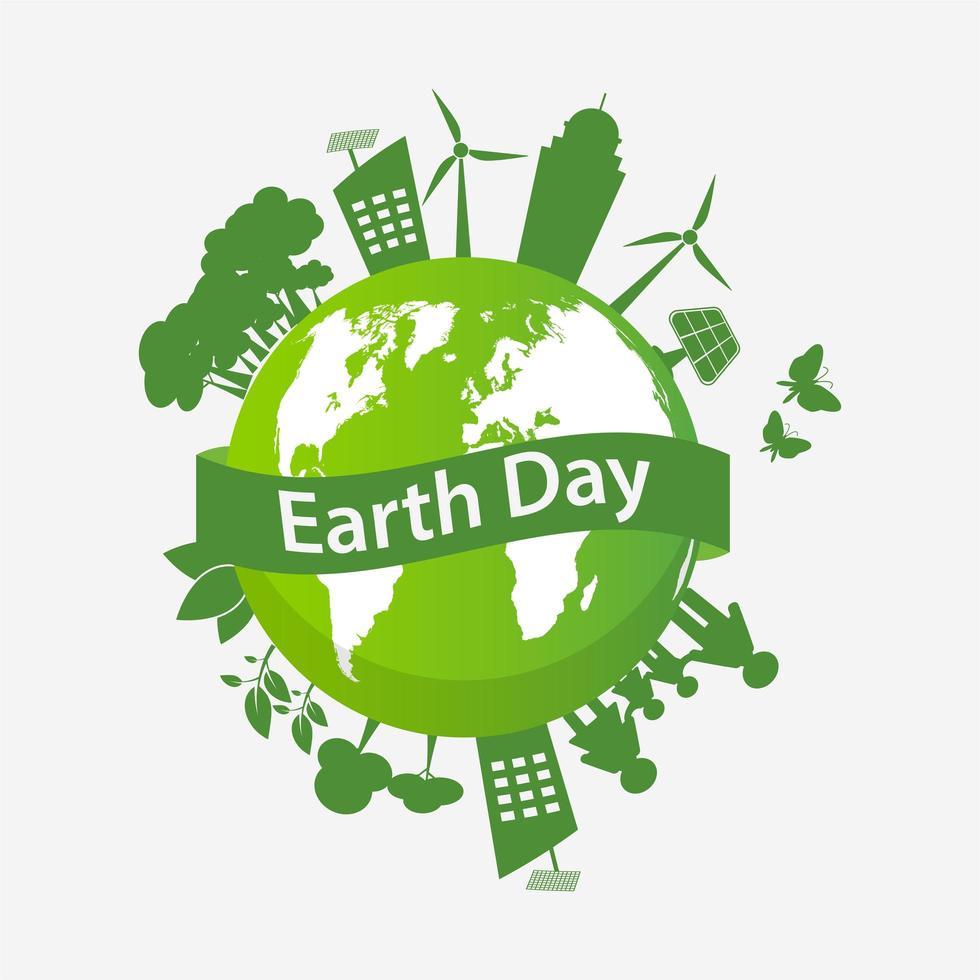 jorddagen världen med miljövänlig stad och familj vektor