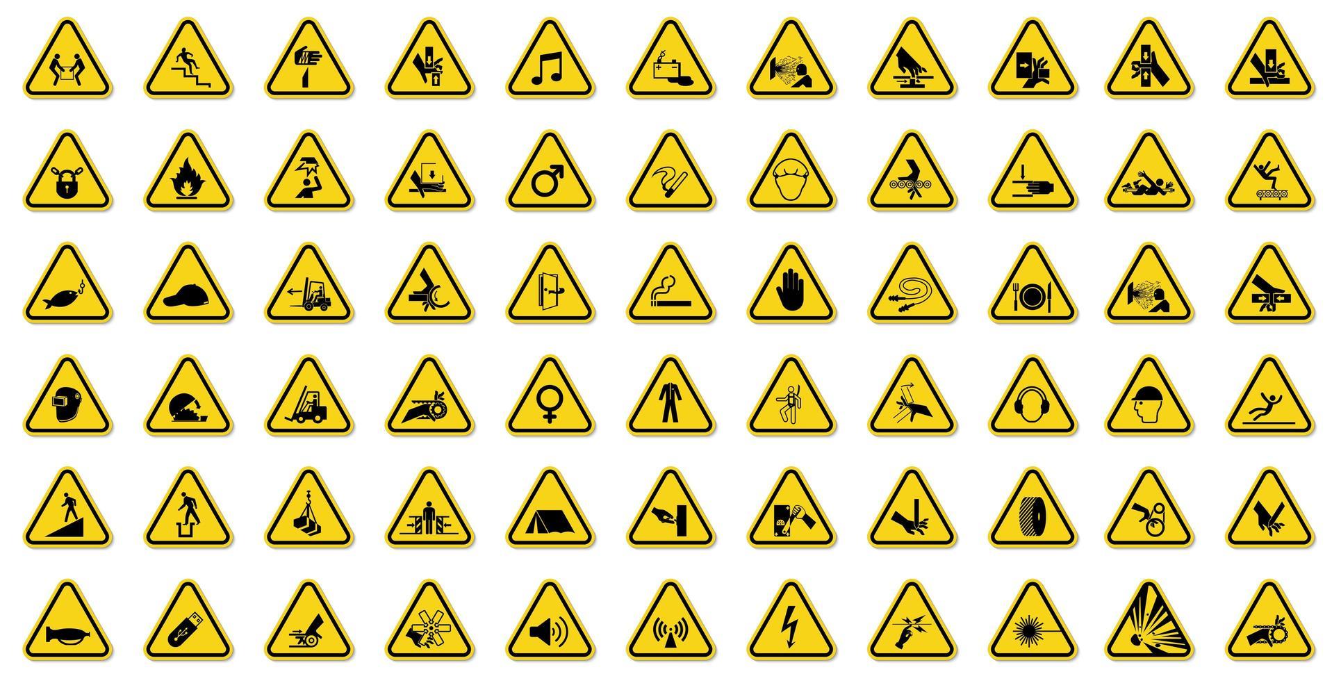 varningsteckenuppsättning med svarta ikoner i gul triangel vektor