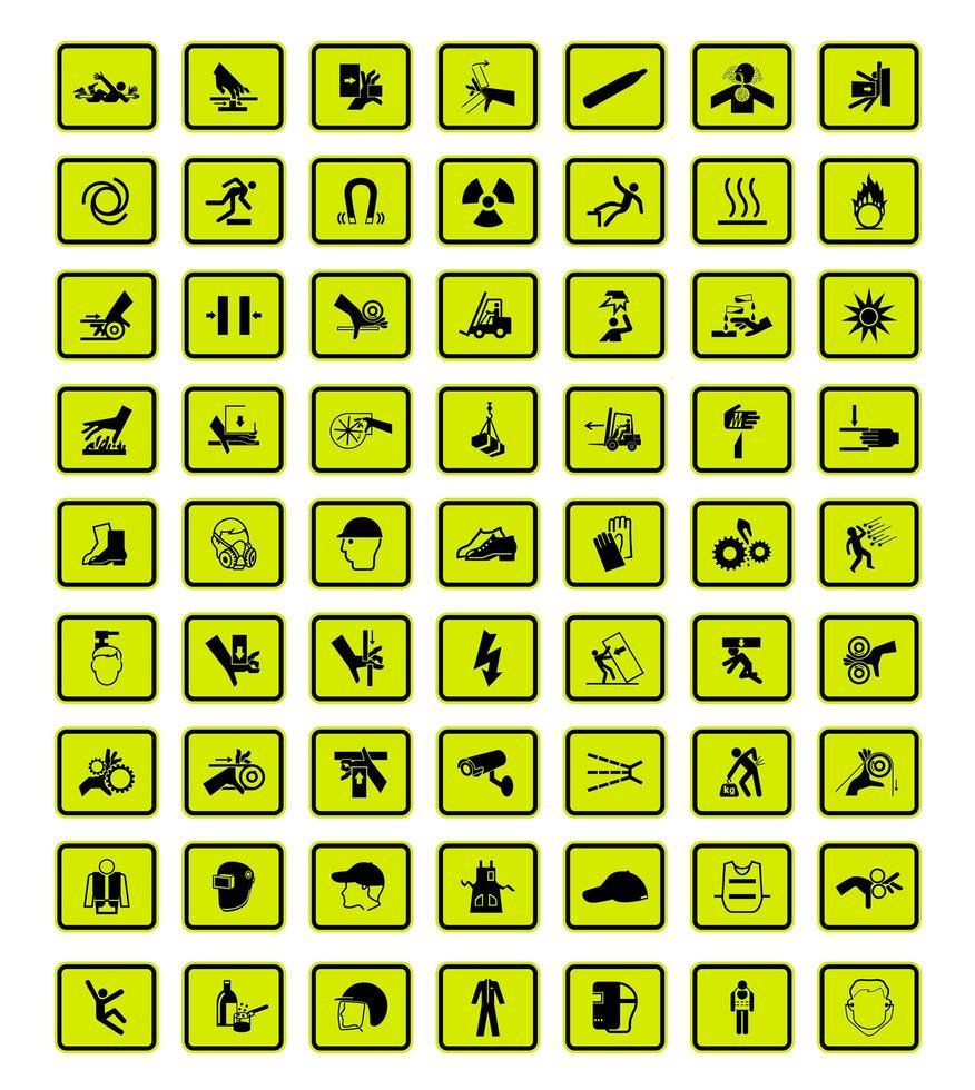uppsättning av 63 varningsskyltar med svarta ikoner på grönt vektor