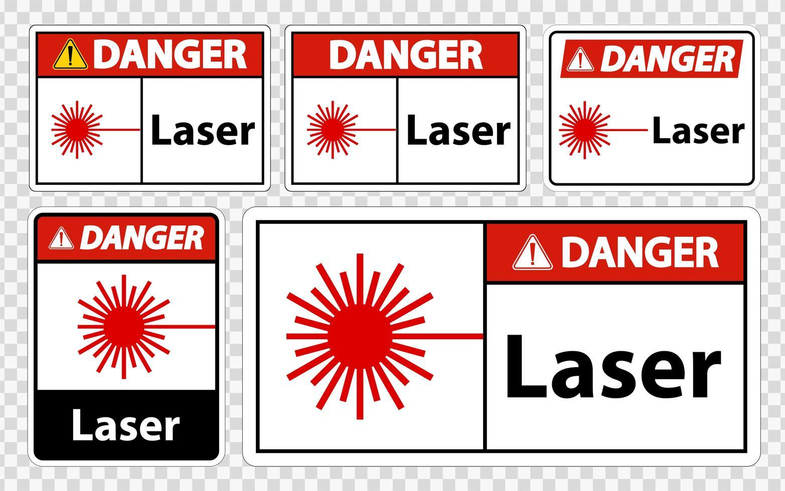 Gefahrenlaser-Zeichensatz vektor