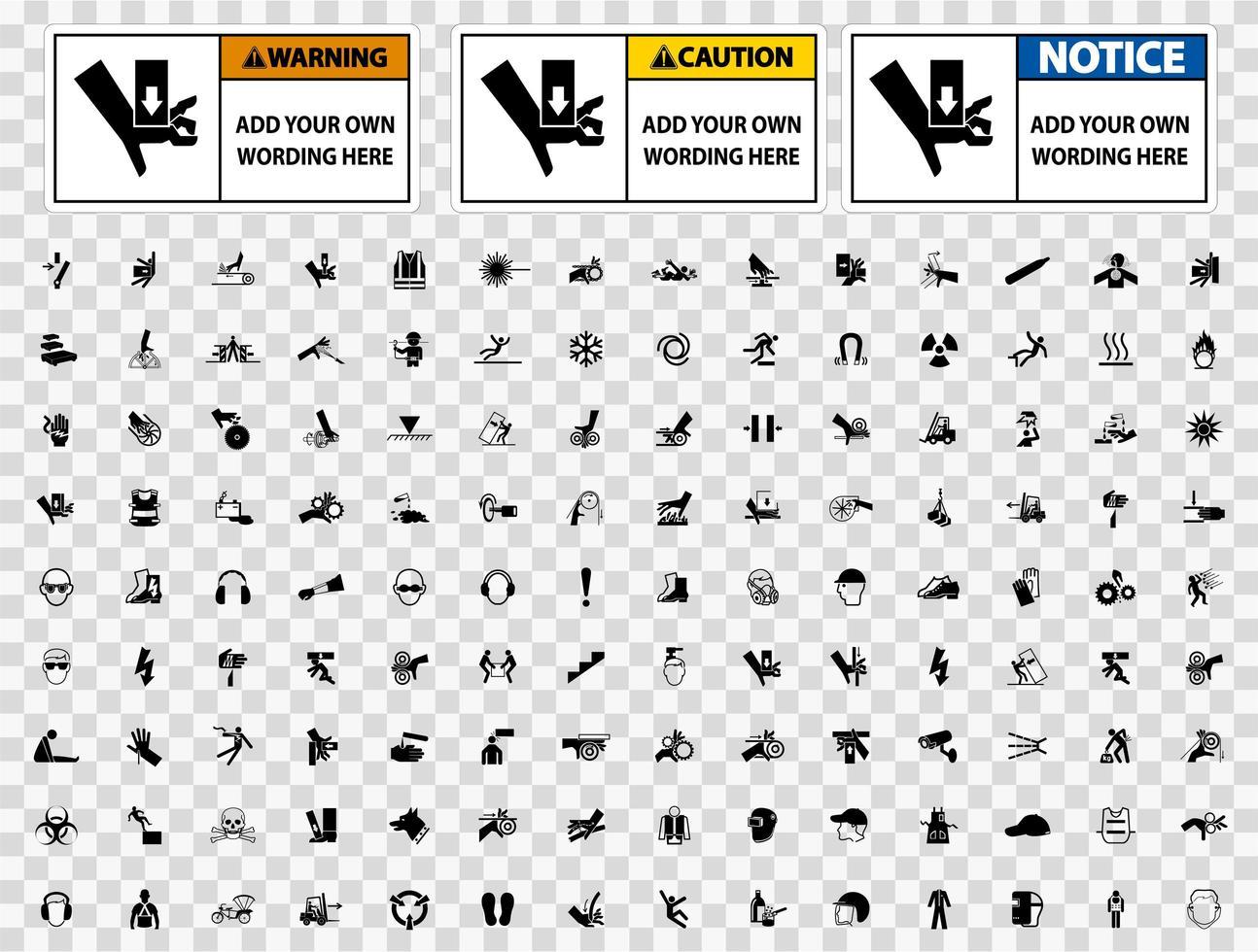 varningsskylt malluppsättning med ikoner vektor