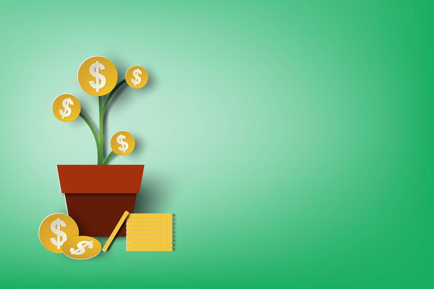 Papierkunst Geld Pflanze auf Grün vektor