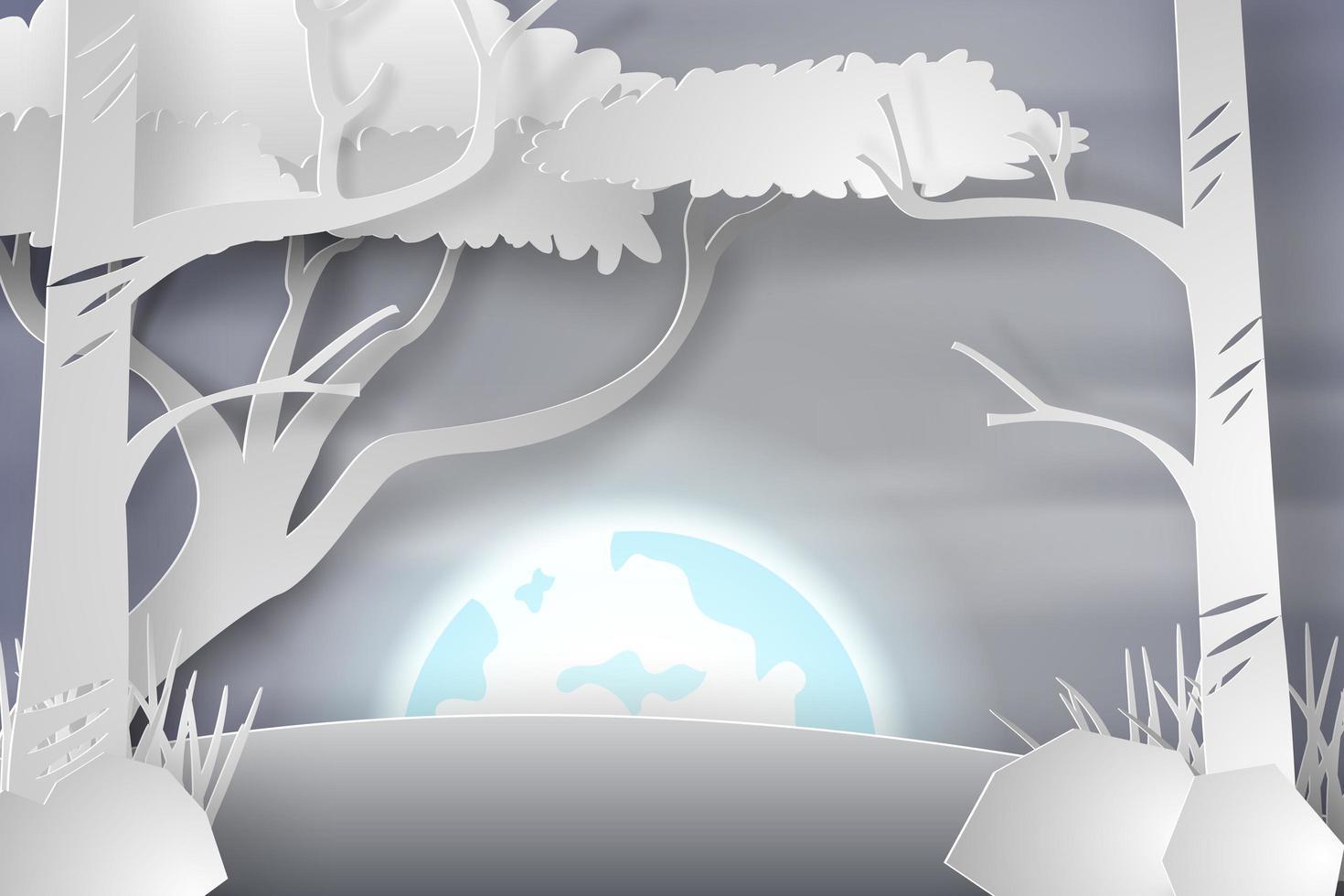 Papierkunstbäume im Schnee mit Vollmond vektor