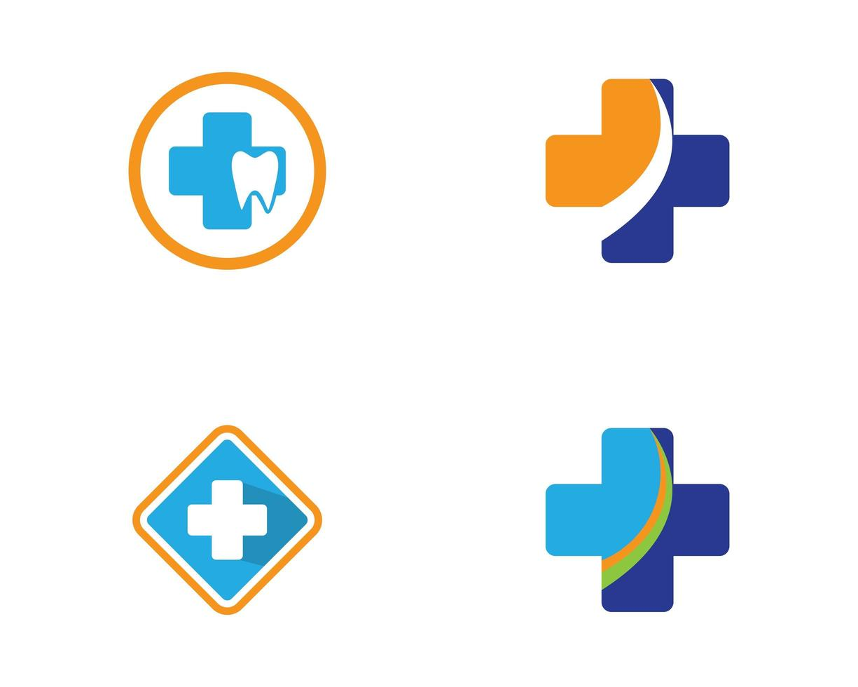 blaues und orangefarbenes medizinisches und zahnmedizinisches Logo gesetzt vektor
