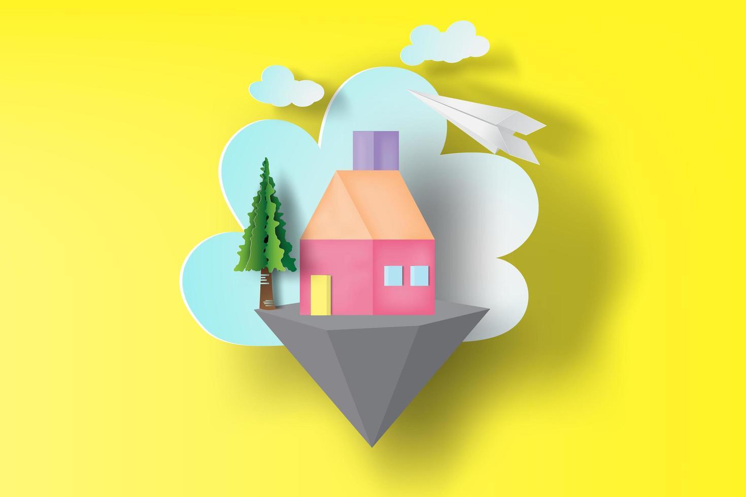 Schnitt Papier Stil Haus auf schwimmenden Insel Design vektor