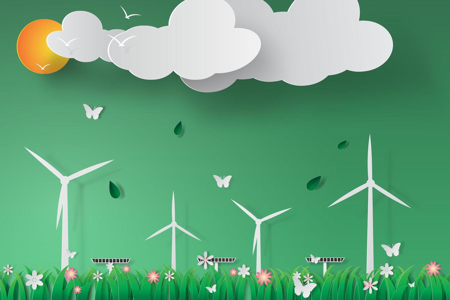 Papierkunst grüne Windkraftanlage Solarenergie Design vektor