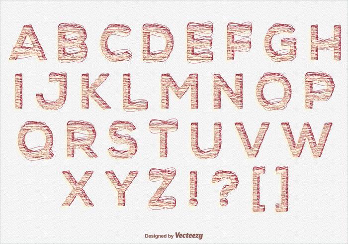 Scribble style alfabet set vektor