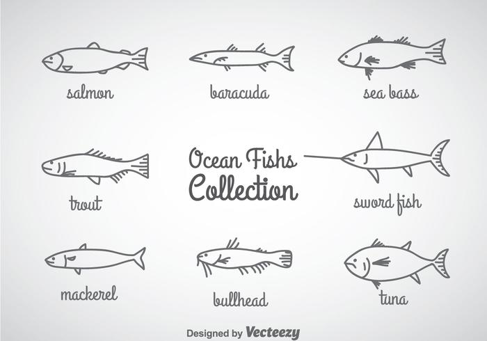 Ozean Fisch Linear Icons Vektor