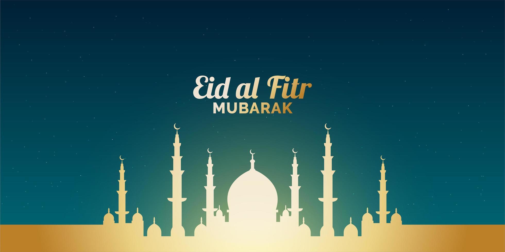 eid al-fitr banner med glödande guldmoské vektor