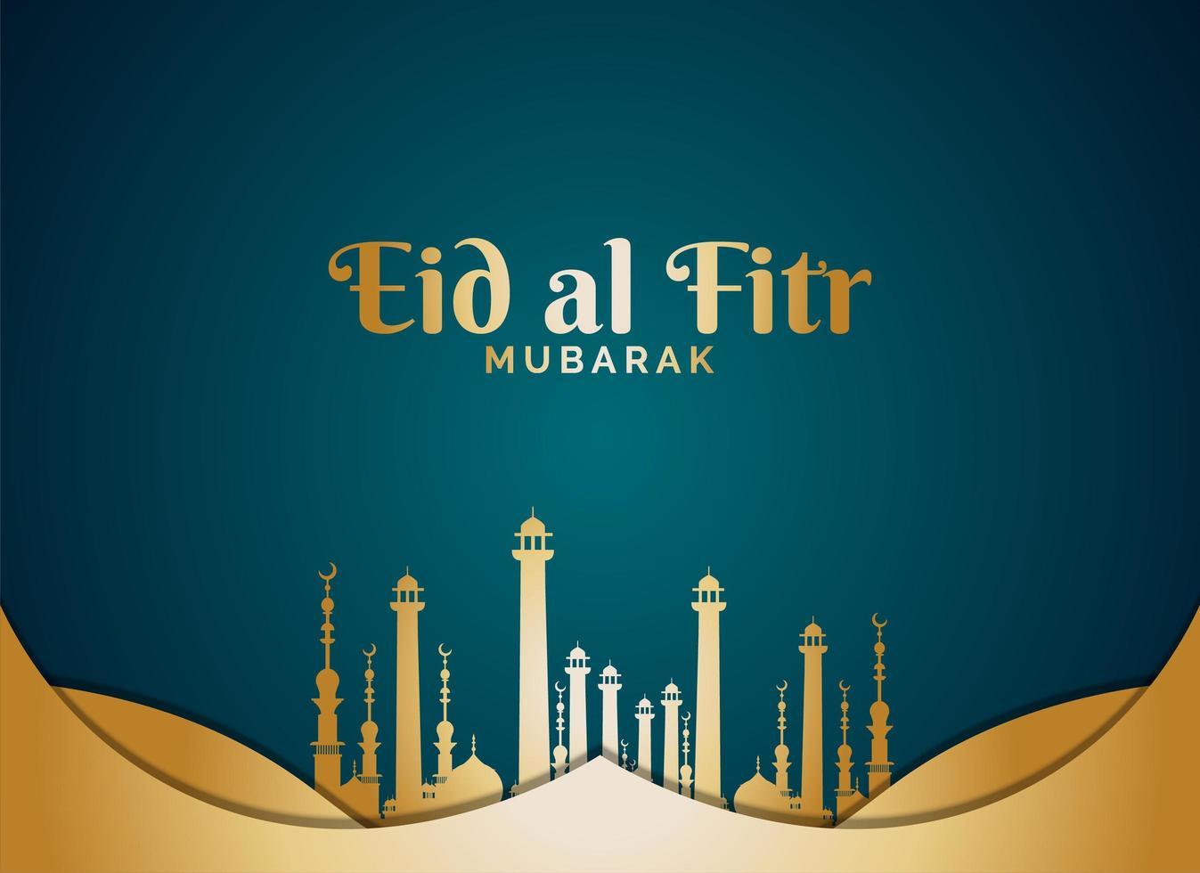 eid al fitr mit goldenen Moscheetürmen auf blaugrün vektor