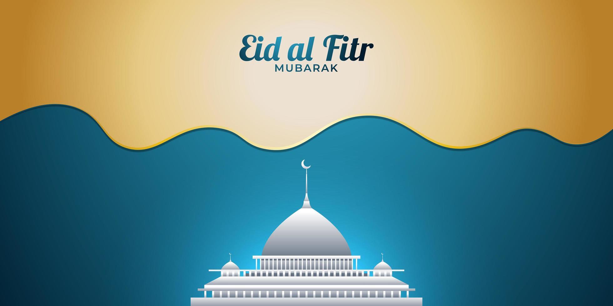 eid mubarak med vit moské vektor