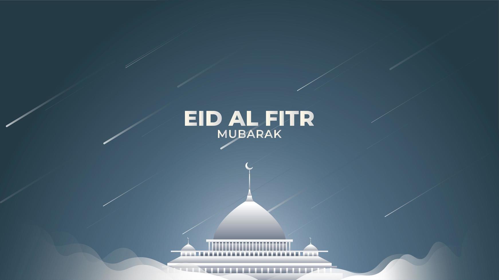 eid al-fitr med vit dimma och stjärnstjärnor vektor