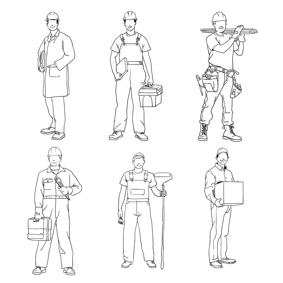 Sammlung von Skizzen von Bauarbeitern vektor